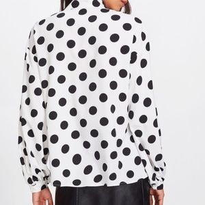 Tops - BLOUSE Bow Tied Neck Lantern Long Sleeve Polka Dot